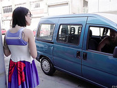 Tattooed brunette in glasses Lilyan Red is fucked by one horny driver