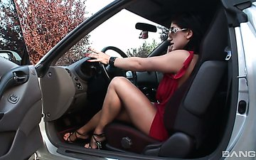 Killing hot brunette in red dress Lea Lexus gets her anus fucked