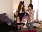 Slutty Asian chick Ami Kurosawa is fucked by two perverted dudes