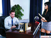 Swanky secretary Rina Ellis sucks big dick of her kinky boss