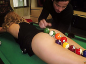 Horny bitch Ivana Sugar serves her client right on the billiard table