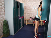 Young cheerleader Tina Kay is stripping in the locker room