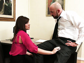 Attractive secretary Alison Rey gives a blowjob during the interview