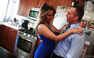 Super sexy housewife Lana Violet is fucked by her husband and his business partner