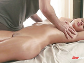Czech seductress Ashley Adams gets oiled up and fucked in the massage parlor