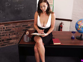 Big tittied stripping teacher Sapphire makes mouth water