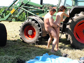 Tractor driver fucks sex-hungry milkmaid Frosya right in the filed
