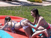 Playful lubed chicks Kristen Scott and her nasty girlfriend are fucked outdoor