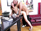 Top manager Regina is fucked by hot blooded bald headed co-worker
