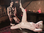 Cruel mistress wearing strapon Chanel Preston fucks one blonde on a leash