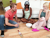 Legendary threesome sex with ebony chick Sarah Banks and her white girlfriend