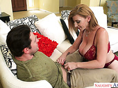 Hot blooded milf in sexy lingerie Sara Jay seduces best friend of her stepson
