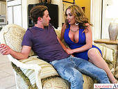 Sex-starved milf Richelle Ryan fucks her stepson and gives him a footjob