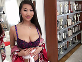 Jaw dropping Asian babe Sharon Lee hooks up with two dudes