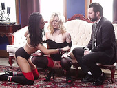 Bondage chick Dahlia Sky and her GF are fucked by one kinky dude