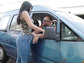 Spanish bootyful babe Alba De Silva is picked up and fucked by one tattooed hunk