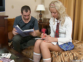 Charming coed in short skirt Ellen F is doggy fucked after a hot cunnilingus