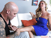 Bodacious bombshell Cherie Deville gets her feet licked and takes a dick in her wet muff