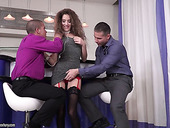 Sex-appeal babe Monique Woods is fucked by two hot blooded studs
