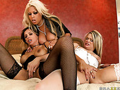 Bridgette B, Francesca Le and Heather Starlet please each other's cunts in a 69 position