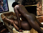 Buxom black slut Kelly Reign rides big black dude on top