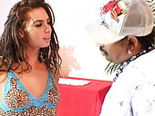 Schorching hot babe Naomi Russell is hooked up by a black dude