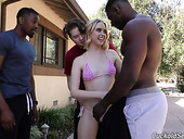 Several black guys fuck sex-hungry holes of blond chick Chloe Couture