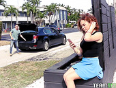 Cute curly red haired babe Eli Luxx is fucked and jizzed on the first date