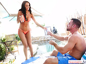 Amazing beauty in bikini Sofi Ryan gives a blowjob and gets her slit rammed by the poolside