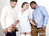 Sexy maid in white stockings Taylor Sands gets double penetrated