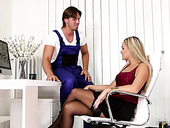 Disparate housewife Barra Brass seduces sweaty hot blooded worker