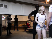 Always sex-hungry harlot Lily Rader is fucked by several black dudes in masks