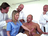 Czech nurse Claudia Macc is fucked by several doctors and horny patient