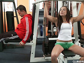 Young sport chick Grace A hooks up with one dude at the gym
