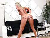 Pee fetish babe Victoria Pure is toying her wet and whorish pussy