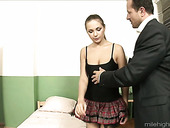 Sweet heart in short skirt Amy is fucked by one skilled elder dude