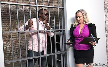 Big tittied lawyer Amber Lynn Bach is fucked by arrested black guy