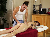 Tattooed red haired babe Tana Lea is fucked right on the massage table