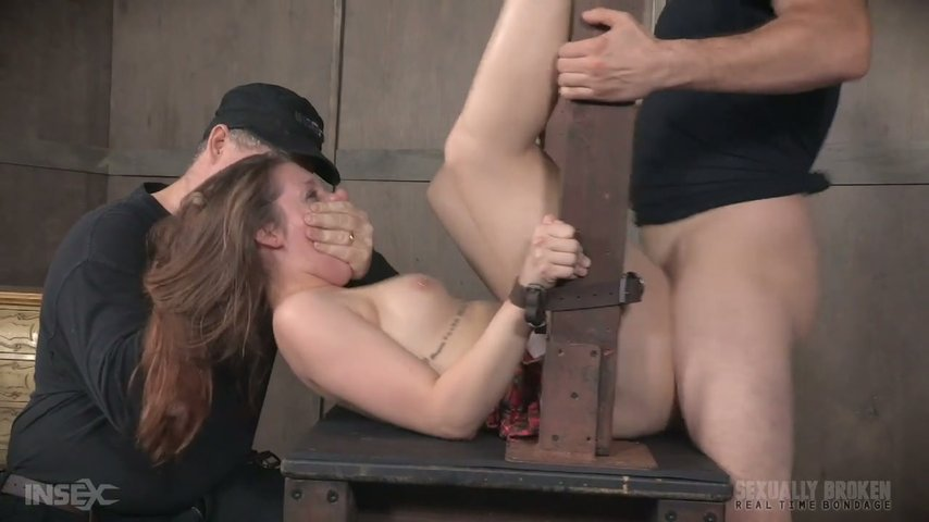 Pervert fucks deep throat and pussy of tied up and restrained bitch Nora Riley