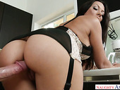 Hot blooded dude fucks super sexy housewife Rachel Starr in the kitchen