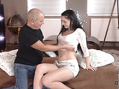 Lovely young Czech chick Kittina Ivory hooks up with one elder bald headed dude