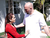 Tiny chick Brooke Haze is fucked by well endowed and bald headed stud J Mac