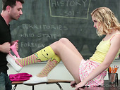 Yummy college blonde Chloe Couture is fucked on the teacher's table