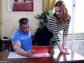 Red haired secretary Eva Berger gets her anus rammed by horny boss