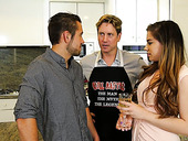 Nasty girl Bobbi Dylan hooks up with two bisexual guys in the kitchen