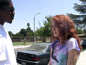 Pretty red head Alice Green swallows a big black dick before a hardcore pussy pounding