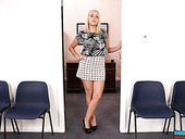 Big bottomed and ample breasted secretary Millie Rose gets naked in the office