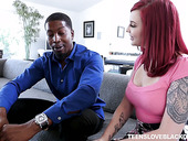 Red haired chick Amber Ivy is impaled on a hard black pole of her new neighbor