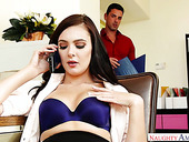 Sexually compulsive secretary Marley Brinxis fucked by hot blooded co-worker