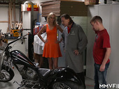 Slim blond bitch Jenny Smart gets intimate with two kinky mechanics